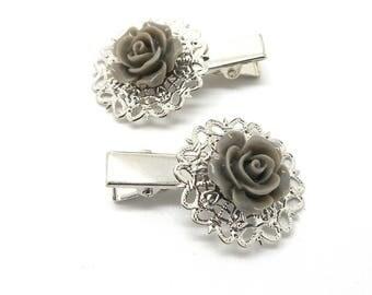 2 hair clips has cabochon silver grey hair