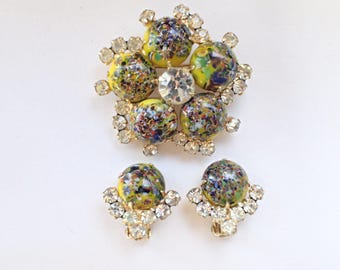 Vintage Verified Juliana Millefiori cabochon brooch earring set AB344
