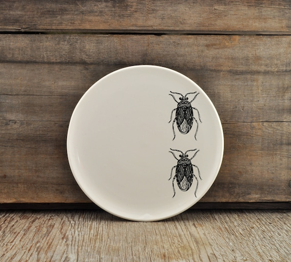 Handmade porcelain dinner plate with vintage INSECT prints