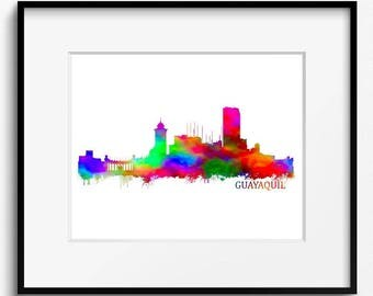 Guayaquil Skyline Watercolor Art Print (223) Guayaquil Cityscape, Guayaquil Painting, Odessa Art Print, Odessa Watercolor, Equador Art Print