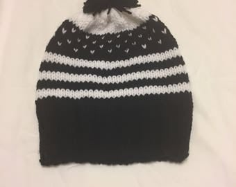 Fair Isle Striped Knit Hat with Pom Pom