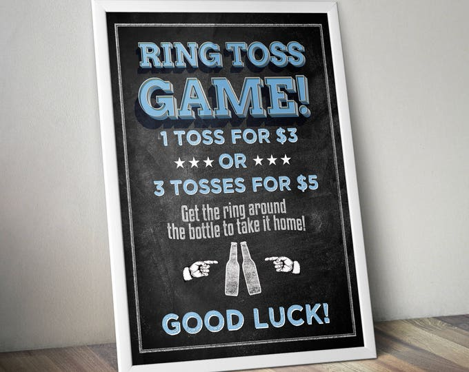 Ring Toss sign, Baby is brewing, Coed baby shower invitation- Beer baby shower invitation- couples baby shower, BBQ, baby shower games