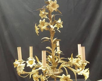 On Sale Vintage  Tole  Chandelier ,Brass Tole Lighting floral tole lighting Italian tole chandelier Hollywood Regency tole chandelier gilt f