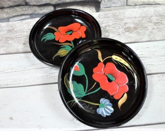 Longwy Poppy Design French Pottery Bowls Pair Mid-Century Modern Coquelicot Signed L Valenti Hand Painted Serving Tableware