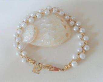 Pierre Cardin Mariner Style Faux Pearl Bracelet Small Interwoven Gold Tone Metal Vintage Costume Jewellery Jewelry Gift Ideas