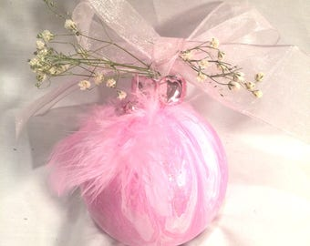 Pink White Swirl Hand Painted Glass Ball  Ornament Rhinestones Bow Feathers
