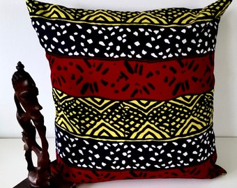 African Print  Red, Black & Yellow, Pillow Cover, African Home Decor, African  Home Textile