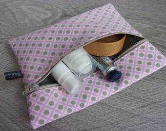 "Small cosmetic case ""Clélia"" / / multi-purpose case. Retro flower fabric / / pink tones and taupe"