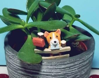 Mini Corgi Flower Pot Decoration