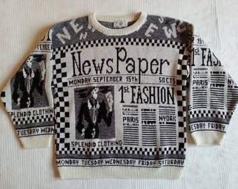 1980s Old Shabby Chic Ugly but beautiful Newspaper Pullover Sweater Print 80s