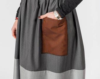 Skirt MoD. Sage/Pinstripe