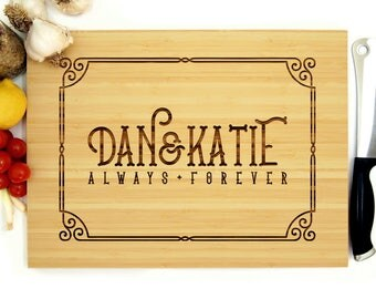 Personalized Cutting Board, Custom Wedding Gift, Ornate Border, Monogram, Always and Forever, Housewarming Gift, Bridal Shower Gift