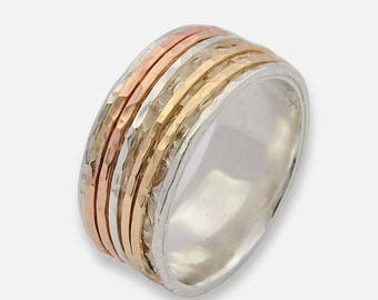 Gift for her, Tri-Colored Spinner Ring, Rose Gold Spinner Ring, Silver Ring, Fidget Ring, Leaf Spinner Ring, Worry Ring, anxiety ring