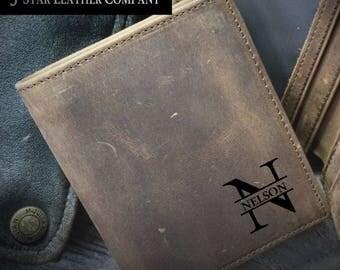 personalized leather wallet, men's wallet, leather wallet