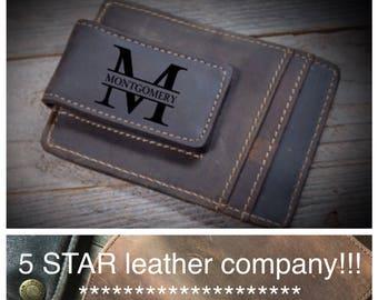 QUANTITY DISCOUNTS, Cowhide leather money clip, personalized leather money clip, personalized cowhide leather money clip, credit card wallet