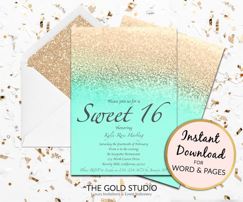 Sweet 16 invitation mint gold glitter sweet sixteen modern sweet 16 invitation mint gold glitter sweet sixteen modern turquoise birthday invite template mac or pc word or pages instant download stopboris Gallery