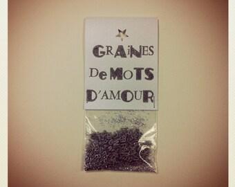Graines de mots d'amour (Étiquette impression Typographique)