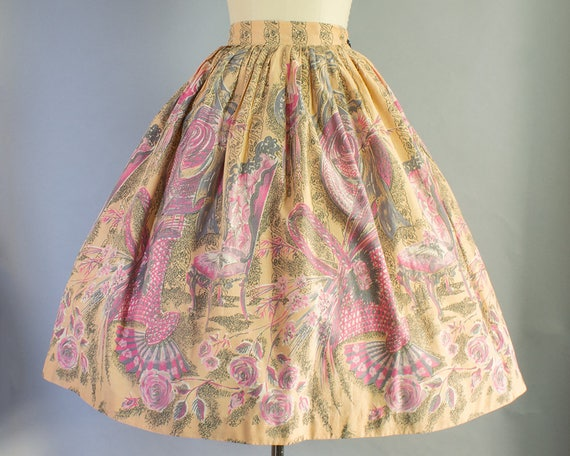 1950s Boudoir Scene Novelty Cotton Skirt | Large (31 Waist)