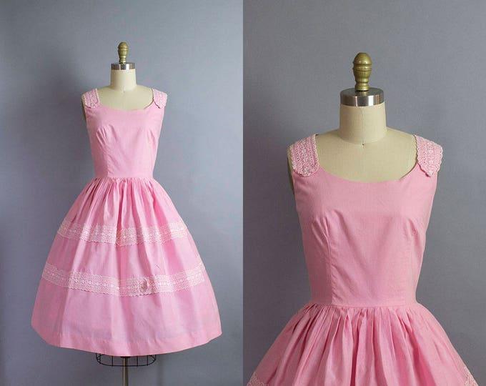 1950s Pink Cotton Dress/ Medium (35b/28w)