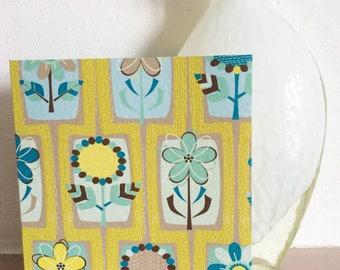 Greeting Card Retro 1950's Vintage Style FLOWERS Mustard