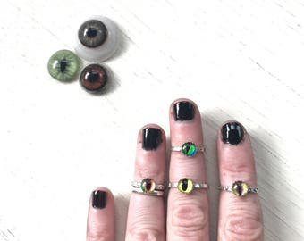 Seer- Taxidermy Eye Sterling Stacker Rings