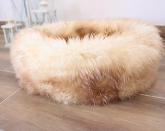 Large Sheepskin Cat bed | Sheepskin Dog bed | Cat Pouf | Dog Pouf | Sheepskin Cat Mat | Dog Mat | Beige  Pet Bed | Fur Pet Bed