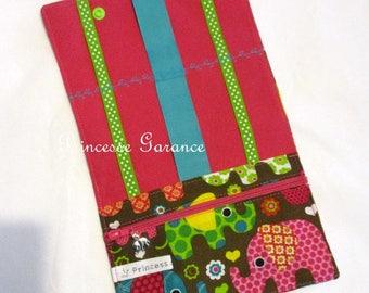 Pouch/Pocket barrettes and elastics cotton colorful elephants