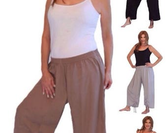 20% OFF PANTS/SALE M194 Pants Crop Gauchos Ruching Ties Elastic Waist Wide Leg Lagenlook Made To Order s m l xl 1x 2x 3x 4x 5x 6x Choose You
