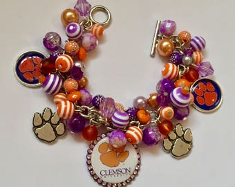 Clemson Charm Bracelet with various Purple, Lavender and Orange beads