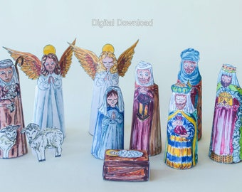 Diy nativity set etsy digital download nativity set printable christmas decoration make it yourself nativity set kit solutioingenieria Choice Image