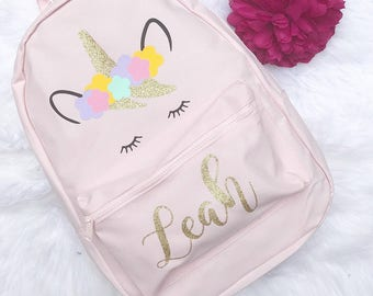 Unicorn Bag - Personalised Backpack - Unicorn Backpack - Backpack with name - Monagram Backpack - Glitter backpack - Girls Pink Backpack