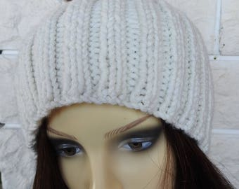 Hand Knitted Women's Cream Ribbed Winter Hat With A Brown Pompom - Free Shipping