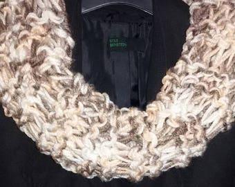 Beige-Brown neck warmer scarf handmade gift for her