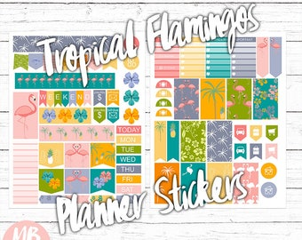 PLANNER STICKERS, printable pdf, tropical flamingos, flamingo planner, tropical flowers, pink flamingo, pink, teal, purple, instant download