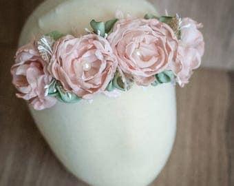 Flower Halo- Floral Halo- Baby Flower Crown- Flower Crown- Baby Headband- Flower Girl Headband- Floral Crown- Blush pink - Boho Wedding
