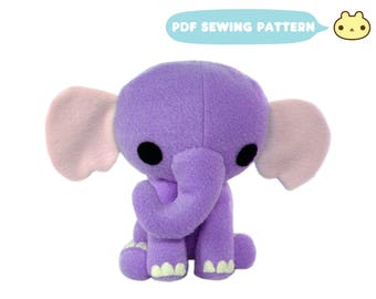 Baby Toy Pattern, Elephant Pattern, Cute Pattern, PDF Soft Toy,  Baby Sewing, Fleece Elephant Pattern, Stuffed Elephant, Sewing Pattern PDF