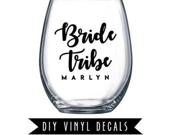 "DIY Wine Glass Decal: Personalized ""Bride,"" ""Groom,"" ""Maid of Honor,"" ""Bridesmaid,"" ""Mother of Bride,"" ""Mother of Groom"" 