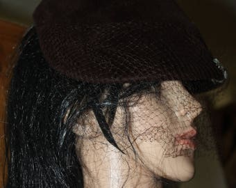 Vintage Dark Brown Velvet Type Hat, with Mesh, Made by Perch, Authentic, Imported Fur,  There are Four Jewels on it Minus 2 Can Be Fixed