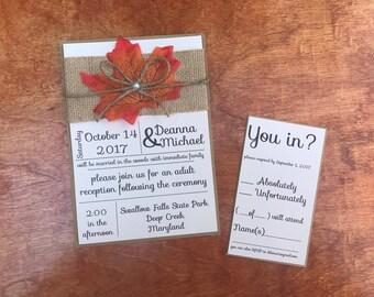 Rustic Fall Wedding Invitation - Handmade Wedding invitation-Rustic Wedding invitation-Autumn Wedding Invitation