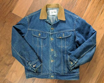 Vintage Lee Storm Rider Blue Denim Jean Lined Button-up Jacket/Coat With Tan Corduroy Collar & Contrast Stitch, Men's Size 42R, Made in USA