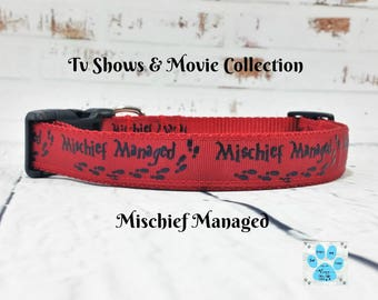 Harry Potter Dog Collar, Mischief Managed Dog Collar, Marauders Map Dog Collar, Up To No Good Dog Collar, Adjustable Dog Collar, Hogwarts