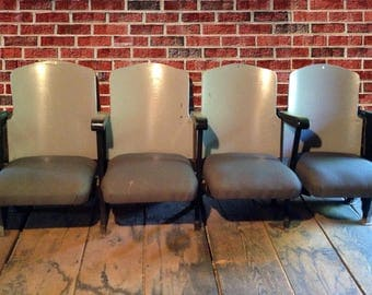 Vintage Theater Seats 4 Gray-Black Fold-Up Wooden Seats Art Deco Home Movie Theater Art House Seats 1920s - Regional Boston-Area Pickup Only