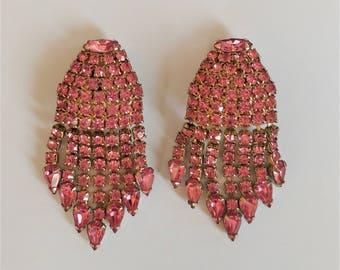 WEISS Vintage PINK RHINESTONE Statement Earrings / Long Rhinestone Clip on earrings / Designer Signed  / Long fringe earrings / Gift Boxed