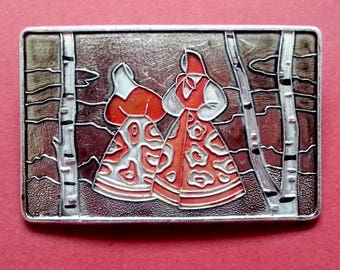 Russian girls in a birch grove, Brooch, Vintage collectible soviet pin badge.  Made in USSR, 1980s