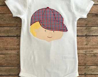 Baseball Cap Boy Applique Shirt