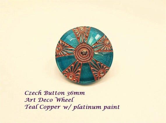 Czech Button Art Deco 36mm per piece