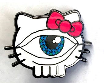 Third Eye Kitty Pin EDM Festival Rave Snapback Hat Lapel Pin