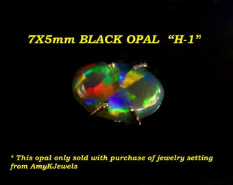 """Black opal collection 7x5mm.""""VIDEO H"""". Australian Solid Black Opals on VIDEO. *Only sold with purchase of a ring setting from AmyKJewels"""