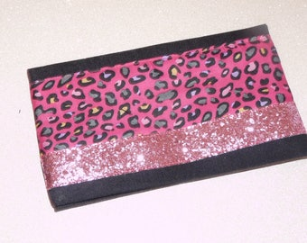 Denim/cotton fuschia motifleopard checkbook cover, strip pink sequins, denim