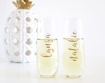 Personalized Champagne Glasses, Bridesmaid champagne glasses, personalized champagne flutes, personalized flutes, personalized glasses